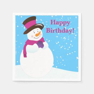 Snowman Winter Wonderland Birthday Paper Napkins Standard Cocktail Napkin