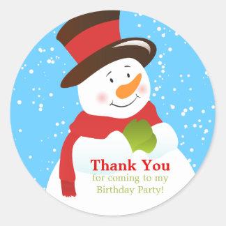 Snowman Winter Wonderland Birthday Sticker