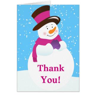Snowman Winter Wonderland Birthday Thank You Card Greeting Card