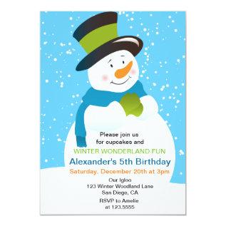 Snowman Winter Wonderland Boy Birthday Invitation at Zazzle