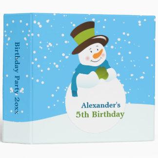 Snowman Winter Wonderland Boy Birthday Photo Album Vinyl Binder