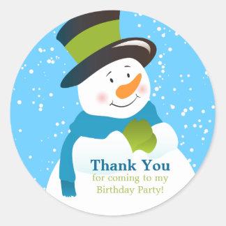 Snowman Winter Wonderland Boy Birthday Sticker