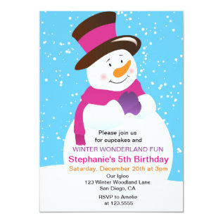 Snowman Winter Wonderland Girl Birthday Invitation at Zazzle