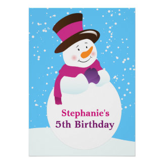 Snowman Winter Wonderland Girl Birthday Poster