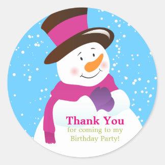 Snowman Winter Wonderland Girl Birthday Sticker