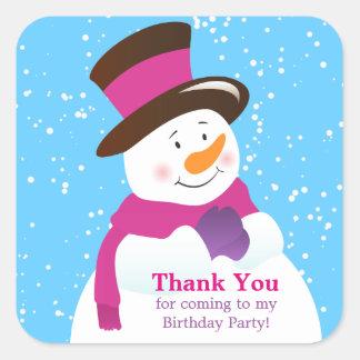 Snowman Winter Wonderland Girl Thank You Sticker