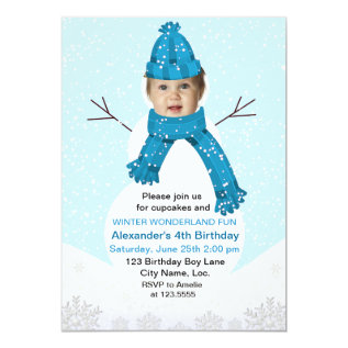 Snowman Winter Wonderland Photo Birthday Custom Card at Zazzle