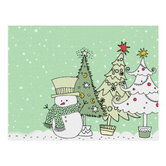 snowman wishes happy holidays postcard