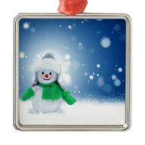 Snowman Wishes Metal Ornament