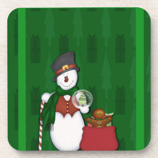 Snowman with A Bag Full Of Presents Beverage Coaster