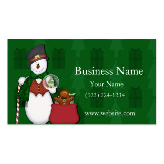 Snowman with A Bag Full Of Presents Double-Sided Standard Business Cards (Pack Of 100)