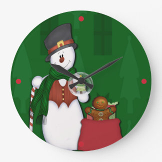Snowman with A Bag Full Of Presents Large Clock