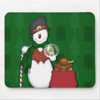 Snowman with A Bag Full Of Presents Mouse Pad