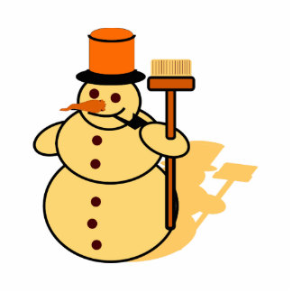 Snowman with a broom cartoon cutout