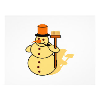 Snowman with a broom cartoon flyer