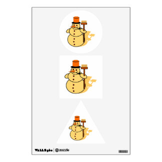 Snowman with a broom cartoon wall decal