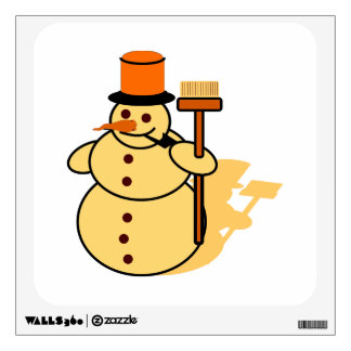 Snowman with a broom cartoon wall sticker