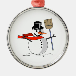 Snowman with a broom Ornament