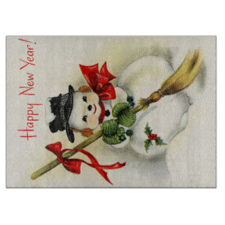 Snowman with a broom wishing Happy New Year Cutting Boards