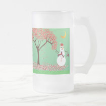 Snowman with a Candycane Tree - mug