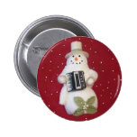 SNOWMAN WITH ACCORDION 2 INCH ROUND BUTTON