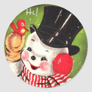 Snowman with Bird Classic Round Sticker