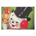 Snowman with Bird Cloth Placemat