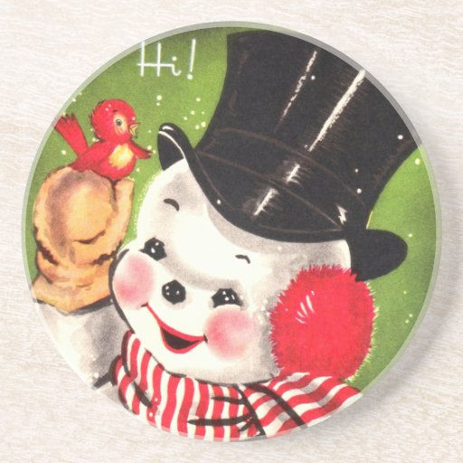 Snowman with Bird Drink Coasters