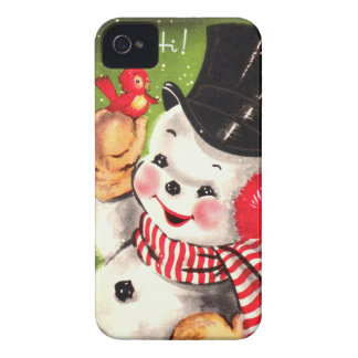 Snowman with Bird iPhone 4 Case