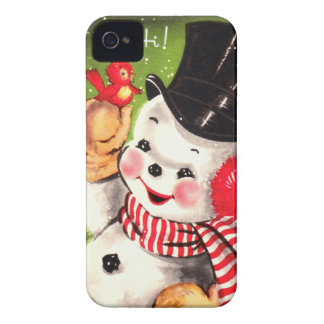 Snowman with Bird iPhone 4 Cover