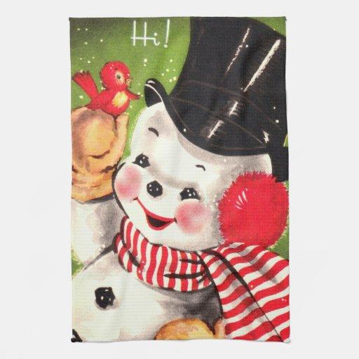 Snowman with Bird Kitchen Towels