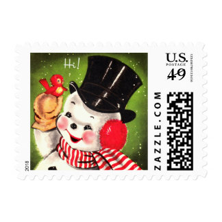 Snowman with Bird Postage Stamps
