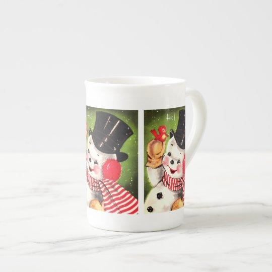 Snowman with Bird Tea Cup