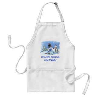 Snowman with Birds Adult Apron