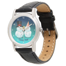 Snowman With Black Felt Top Hat And Snowman Lady Wristwatch
