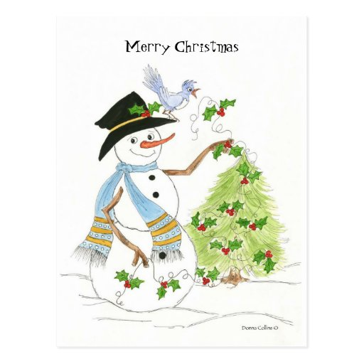 Snowman with blue bird post cards