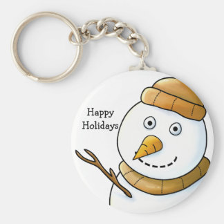Snowman with Brown Scarf Keychain