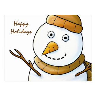 Snowman with Brown Scarf Postcard