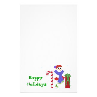 Snowman with Candy Cane and Gift Stationery