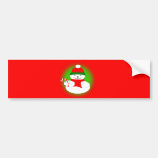 Snowman with Candy Cane Bumper Sticker