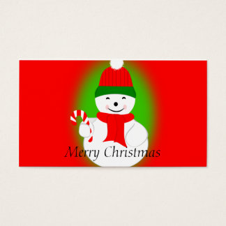 Snowman with Candy Cane Business Card