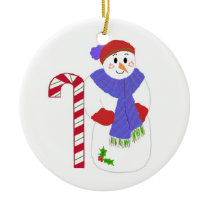 Snowman with Candy Cane Ceramic Ornament