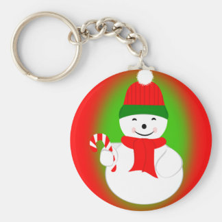 Snowman with Candy Cane Keychain