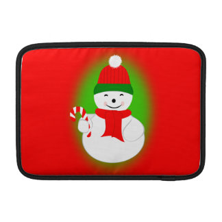 Snowman with Candy Cane MacBook Sleeve