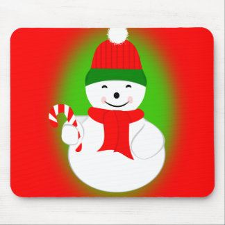 Snowman with Candy Cane Mouse Pad
