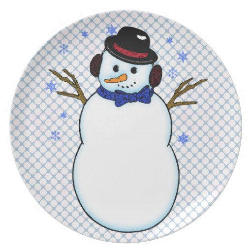 Snowman with Carrot Nose Dinner Plates
