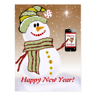 Snowman with cellphone cards template postcards