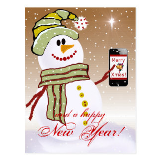 Snowman with cellphone cards template post cards