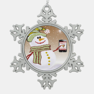 Snowman with cellphone ornaments