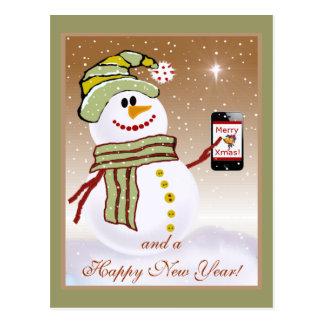 Snowman with Cellphone Postcard